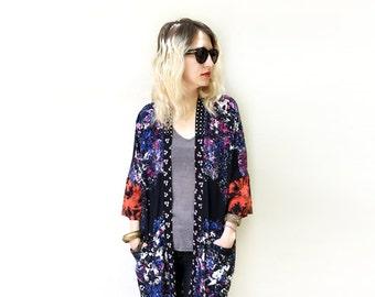 Long Unique Kimono, Wearable Art Clothing, Eclectic Fashion, Fall Kimono, Loose Kimono Jacket, Fall Fashion, Boho Chic