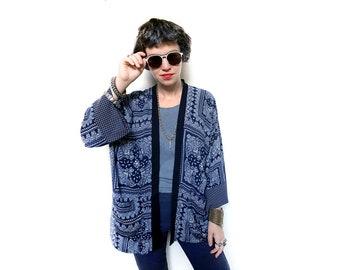 942f41a03d90 Dark Blue and White Boho Kimono