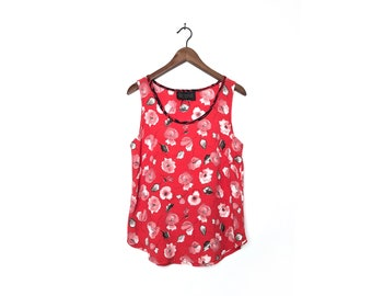 Red Floral Tank Top Blouse