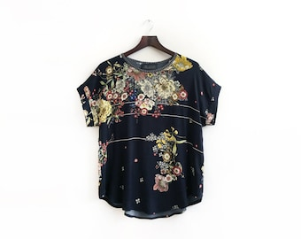 Black Floral Top, Black Floral Blouse, Black Summer Top, Floral Print Shirt, Loose Summer Blouse, Unique Tops for Women, Sizes: XS S M L XL