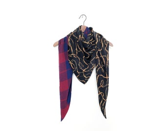 Blue Red Plaid and Chains Print Scarf