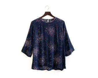 Midnight Blue Shirt, Galaxy Print Shirt, Star Print Top, Navy Blouse, Galaxy Blouse, Spring Tops, Galaxy Print Clothing, XS S M M+ L