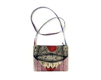 Pink Brocade and African Print Crossbody Fabric Bag