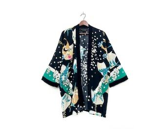 Black Abstract Floral Print Kimono