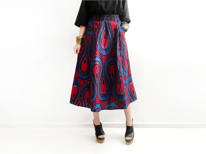 f1e9022a0a Last Size S / Dark Blue and Red Long Midi Skirt African Print   Etsy