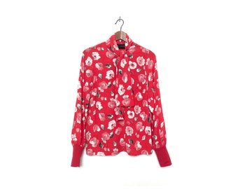 Long Sleeve Red Floral Blouse with Neck Tie