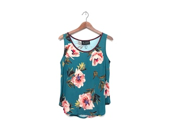 Turquoise Floral Tank Top Blouse