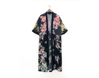 Vintage Floral Print Black Maxi Kimono / S