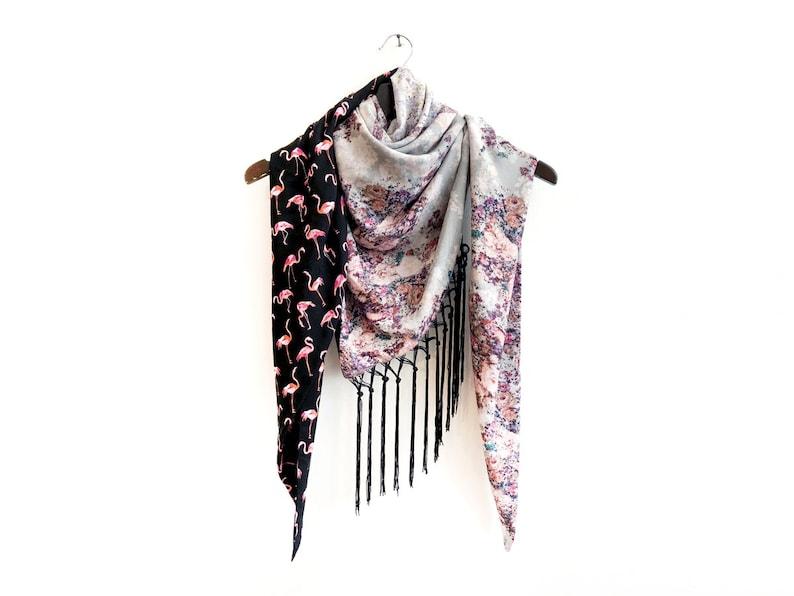 44092c5ec2ea4 Bird Print Scarf Black and Pink Scarf High Fashion Scarf   Etsy