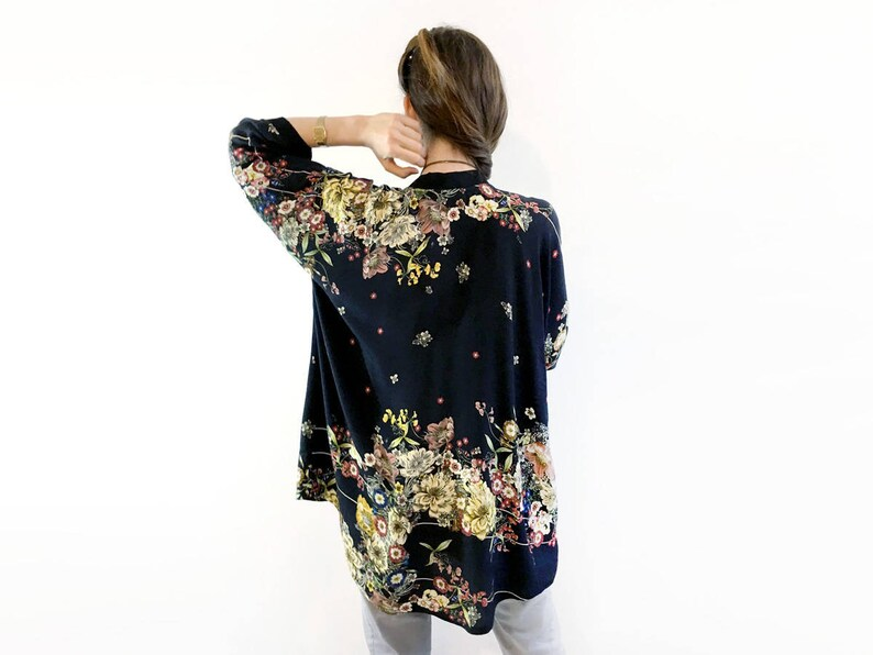 Black Bohemian Floral Kimono Cardigan Unique Boho Kimono image 0