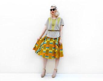 Kente Skirt, Yellow Skirt, African Print Skirt, Spring Fashion, African Clothing, Summer Skirt, Flared Skirt, Women's Clothing