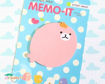 Cute Blue Seal Sticky Notes - Post-it notes, sticky memo, kawaii animals, seals, bubbles, circle note, round