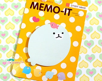 Cute Seal Sticky Notes - Post-it notes, sticky memo, kawaii animals, seals, bubbles, circle note, round