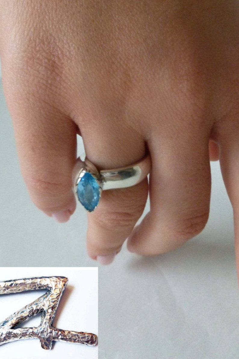 Solitaire minimalist open band ring Blue Topaz Statement Ring Anniversary gift her Unique Engagement Alternative Ring Modern Art Jewelry
