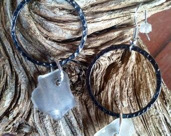Hammered Hoop and Sea Glass Earrings