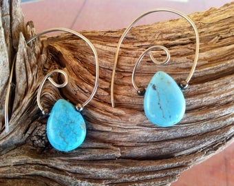 Turquoise Teardrop Spiral Earrings