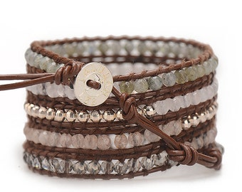 THE MAYA / Silver Wrap Bracelet, Leather Beaded Wrap Bracelet, Brown Wrap Bracelet, Beaded Crystal Bracelet, Rose Quartz Leather Bracelet