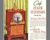 Zenith TV 1949, Only Zenith Television Brings You The Giant Circle Screen and Bulls Eye Automatic Tuning, Original 1949 Ad POSTER PRINT