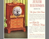 Zenith TV 1949 - Only ZENITH Television Brings You The Giant Circle Screen and Bulls Eye Automatic Tuning - Original 1949 Ad or Poster PRINT
