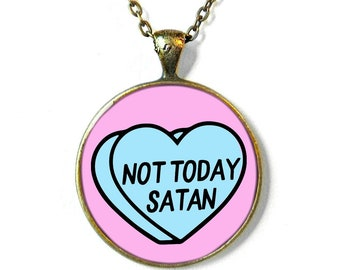 59eb50688f Not Today Satan Anti Valentine's Day Jewelry, Rude Valentine, Funny  Valentines Day Gift For Her Necklace, Rude Valentine Conversation Hearts