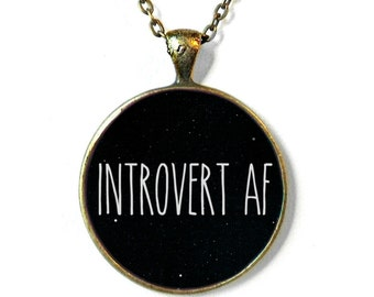 Black Introvert AF Necklace - Funny Antisocial Pastel Goth Soft Grunge Jewelry - Book Necklace