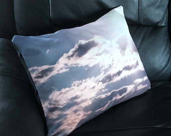 Sun Beam Clouds Photo Throw Pillow Cover
