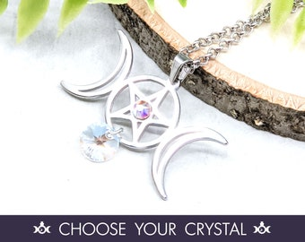 Pentacle Necklace Wiccan Jewelry / Pagan Jewelry Triple Moon Necklace / Wiccan Necklace Witchy Jewelry / Pagan Necklace Pentagram Pendant