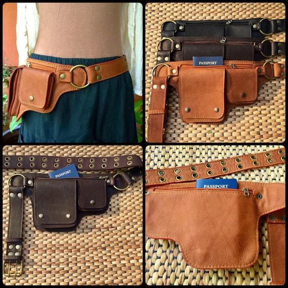 Leather Utility Belt Bag Hip// Waist Pack Travel Passport Pocket Purse Sale