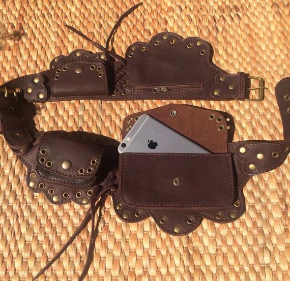 Hip  Waist Belt Bag The Lotus Leather Utility Belt Burning Man Pocket Belt