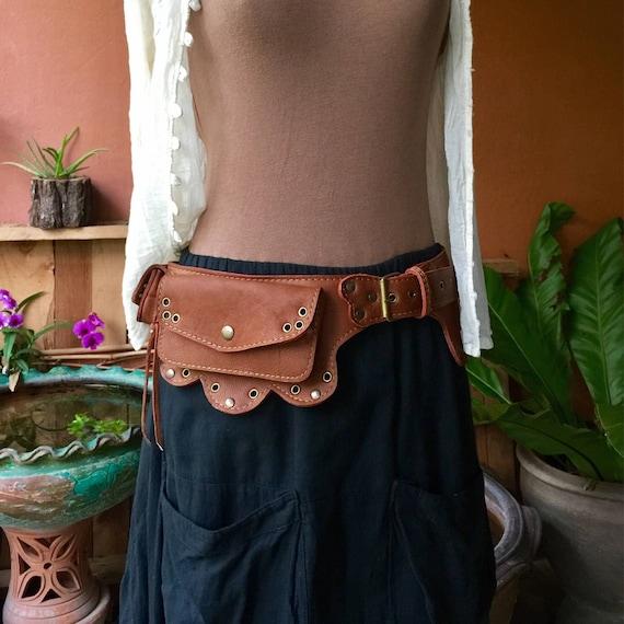 Handmade Waist Bag Leather Belt Bag Hipster Bag Leather Utility Belt Travel Pocket Belt for Women Festival Fanny Pack Hip Bag