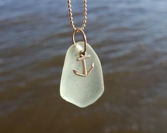 Hudson River Sea Glass- Aqua Sea Glass Anchor Necklace