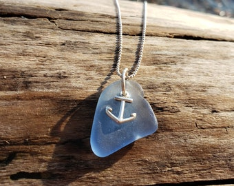 Hudson River Sea Glass- Cornflower Blue Sea Glass Anchor Necklace