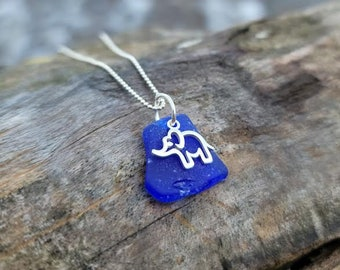 Cobalt Sea Glass Elephant Necklace