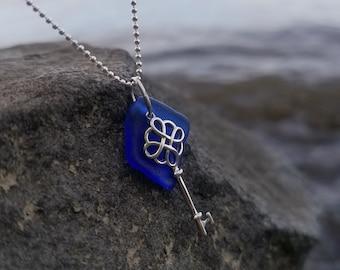 Cobalt Blue Sea Glass Key Necklace