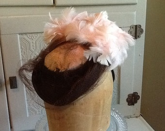 Vintage Brown Felt Hat with Pink Feathers