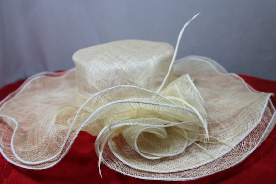 SALE Faded Cream  WideBrim Cartwheel SunHat Weddin