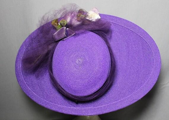 Purple Passion 1940s Wide Brim Hat Race Day Churc… - image 4