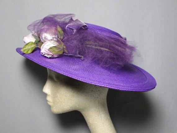 Purple Passion 1940s Wide Brim Hat Race Day Churc… - image 3