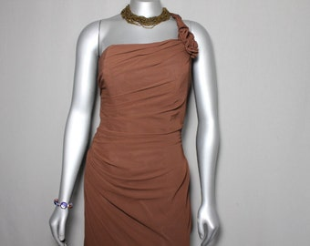 Opulent Brown Grecian Style Evening Bridesmaid Wedding Gown