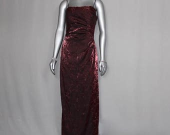 Formal Crinkle Maroon Evening Gown Wedding Dinners Formal Occasion Dress