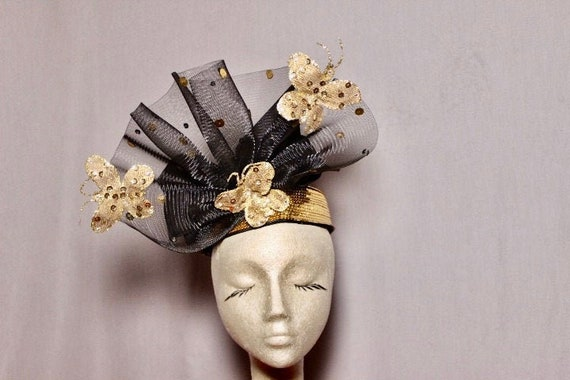 Black Gold Butterfly  80s Fascinator