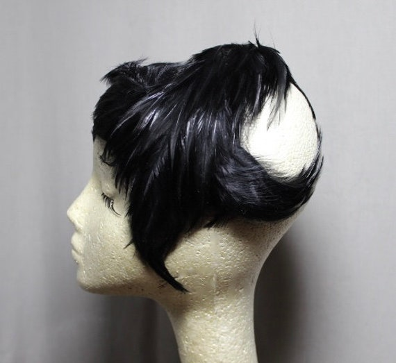Unusual Black Feathered Fascinator 50s 60s Hat - image 3