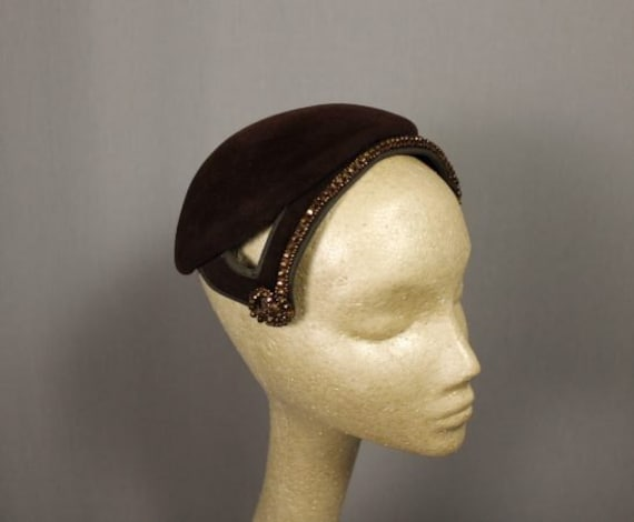 Retro Chic Brown Velvet Calot Hat with gold studs