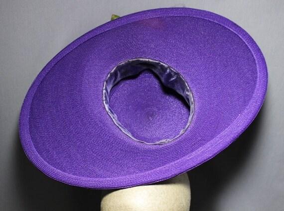 Purple Passion 1940s Wide Brim Hat Race Day Churc… - image 5