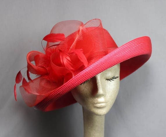 Free Ship USA only Bright Red Wide Brim Fedora Aut