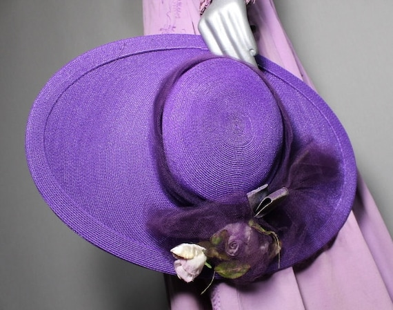 Purple Passion 1940s Wide Brim Hat Race Day Church