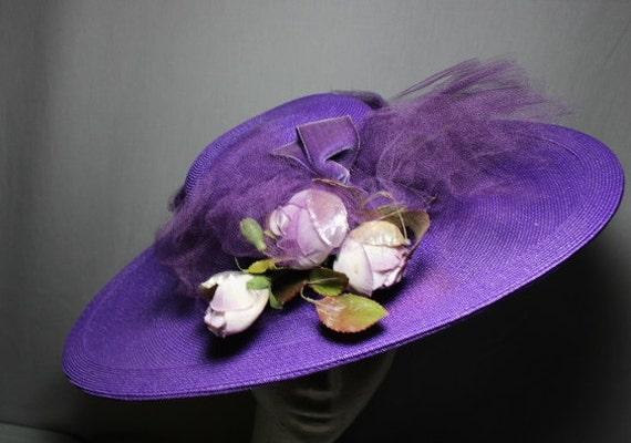 Purple Passion 1940s Wide Brim Hat Race Day Churc… - image 2