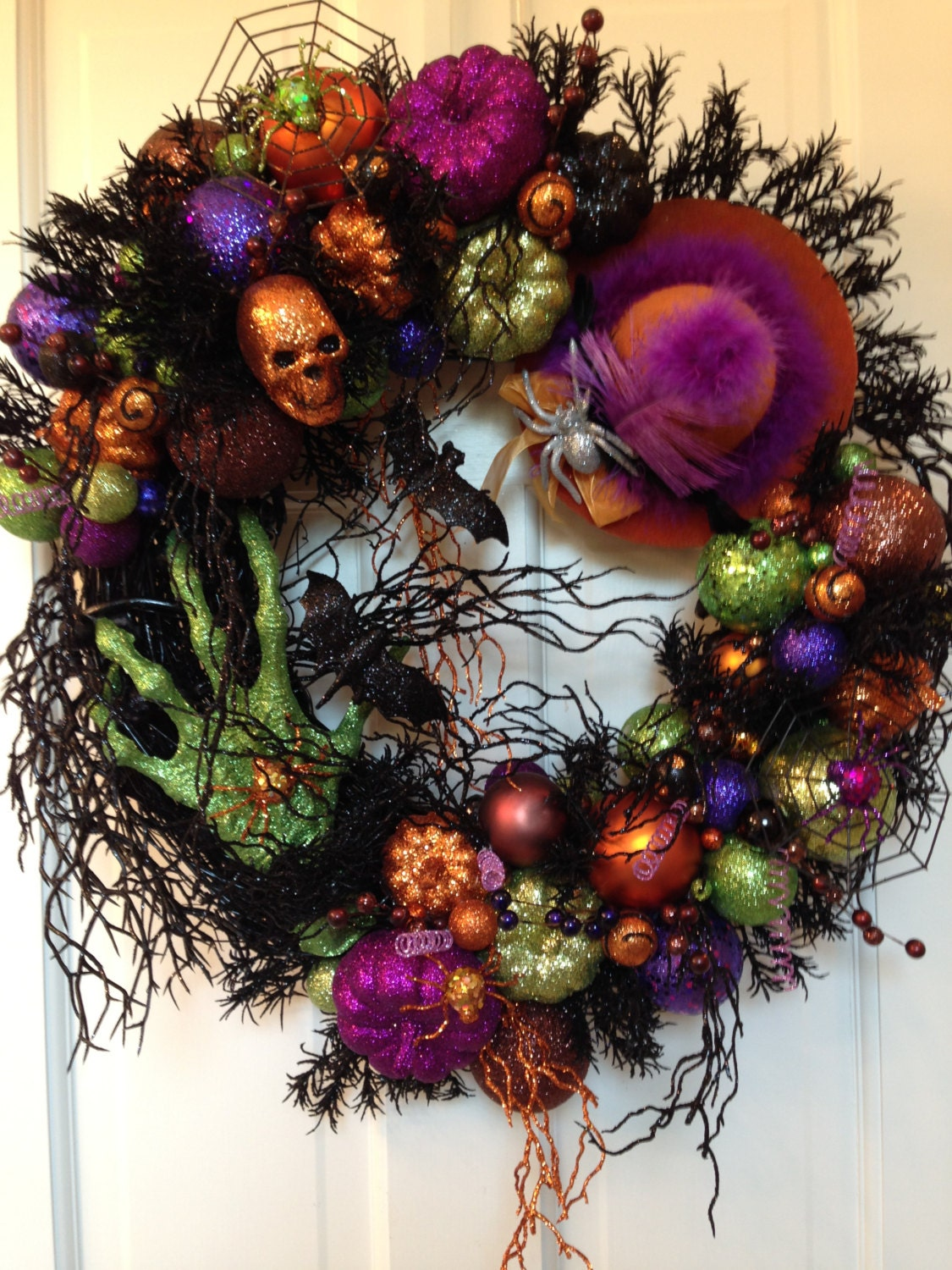 Excellent The Green Witch Hand Spooky Halloween Wreath Pumpkin Etsy Door Handles Collection Olytizonderlifede