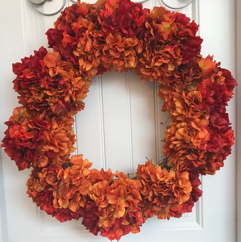 Ready To Ship Fall Hydrangea Wreath Gold Red Orange Rust Etsy