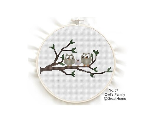 Owls Family Counted Cross Stitch Pattern Pdf Beginner Etsy
